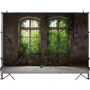 Image 4 - Laeacco 오래 된 집 창 풍경 녹색 나무 포도 나무 빈티지 Grunge 아기 초상화 사진 배경 사진 배경 Photocall