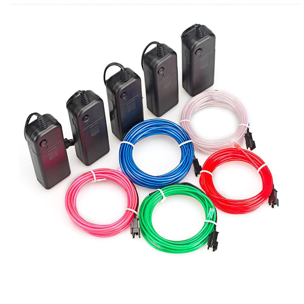 1m 3m 5m 3V LED Strip Light Glow EL Wire Rope Tape Cable AA Battery Drive Flexible Neon Light Party Dance Car Decoration