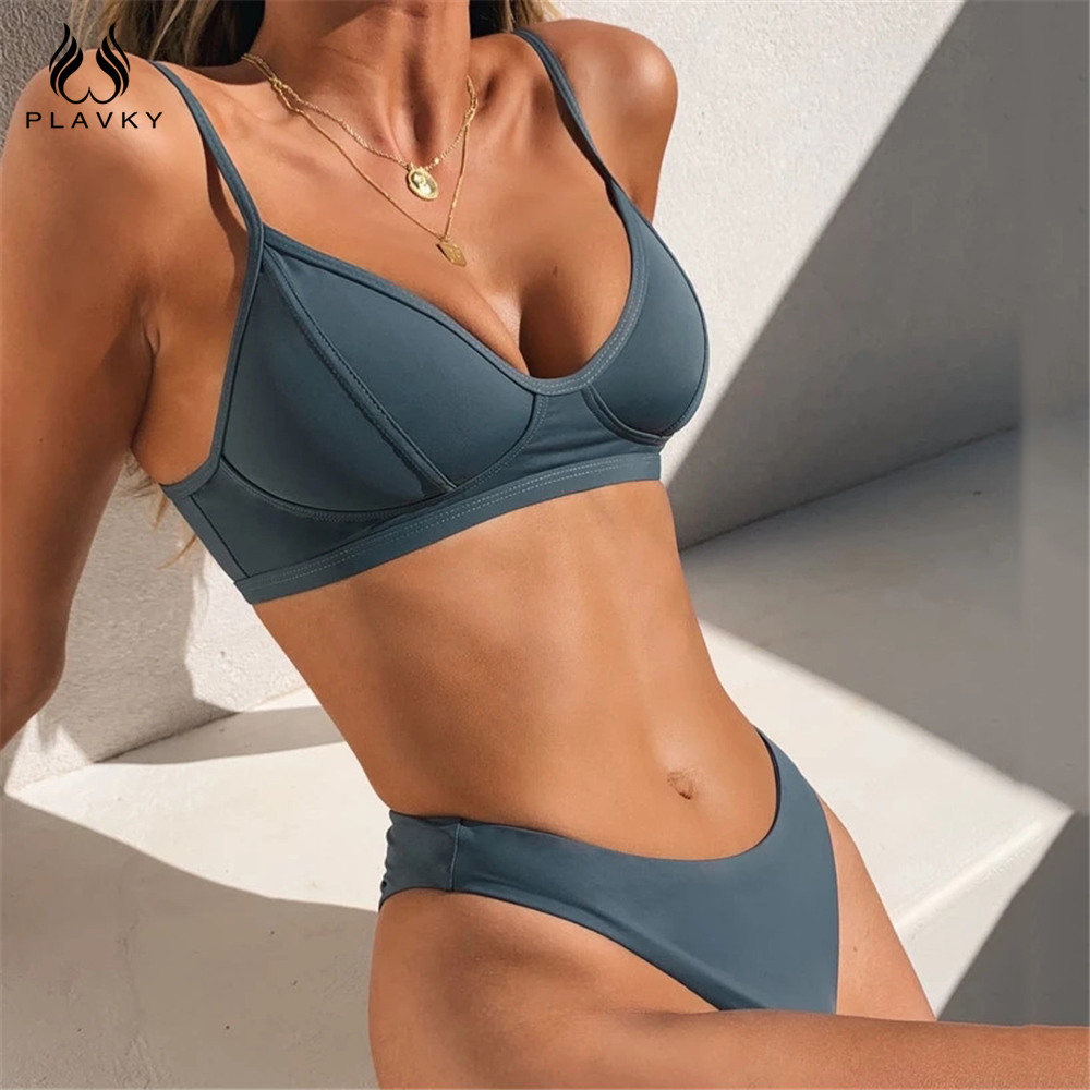 Sexy Solid Thong Brazilian Push Up Bikini Set 2020 Swimsuit Women Swimwear Beach Wear Swim Bathing Suit