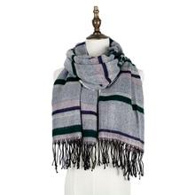 jzhifiyer YX154 220G 65*185+8*2cm Mens Winter Fringe Long Scarf Color-Stripe Shawls Unisex Wraps
