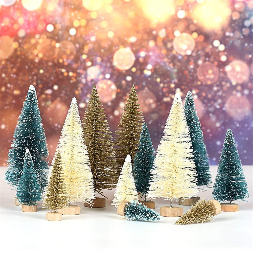 1/24pcs Small DIY Christmas Tree Fake Pine Tree Mini Sisal Bottle Brush Christmas Tree Santa Snow Frost Village House 40P image