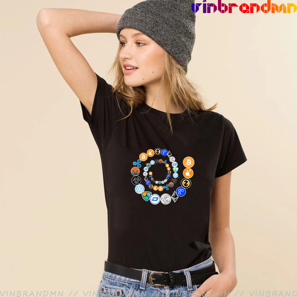 Bitcoin Printed Vogue Ladies T Shirts Cryptocurrency Spiral Ethereum, Bitcoin, Litecoin Crypto network, Qtum Printed Tee Shirts 1