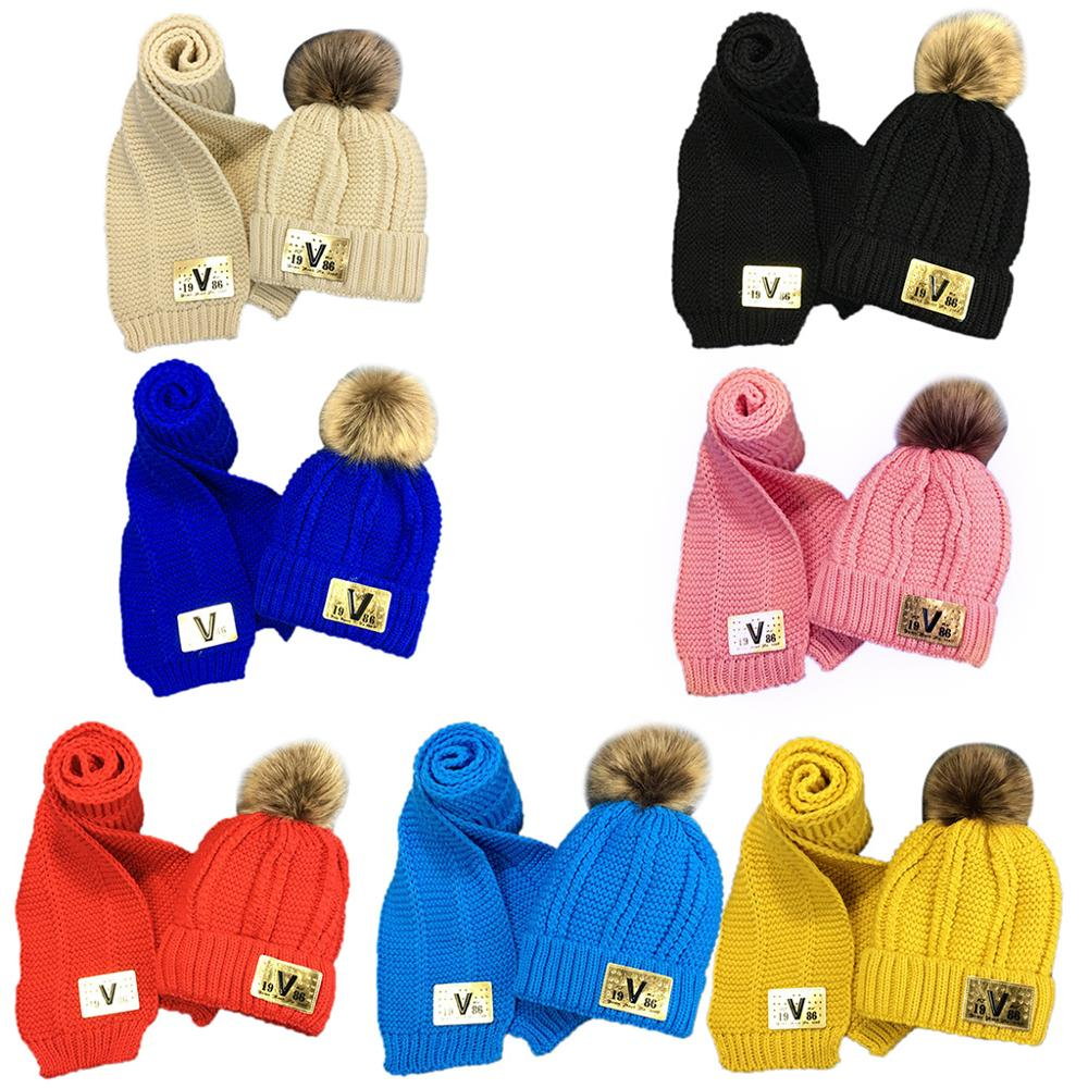 Toddler Kids Winter Chunky Crochet Pompom Warm Lining Beanie Hat Long Scarf Set NEW