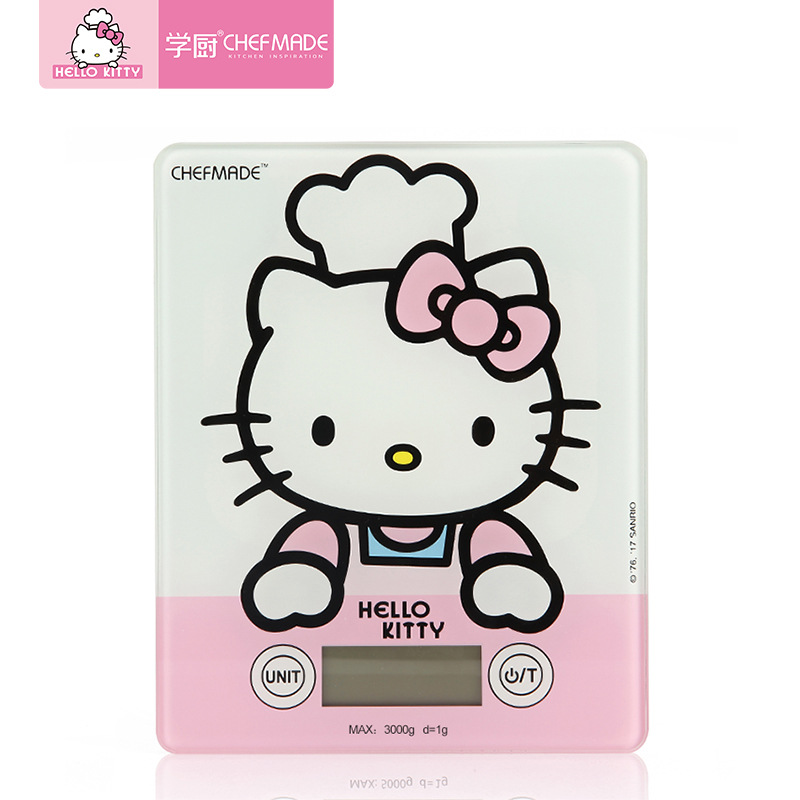 CHEFMADE Hello Kitty Authorized Touchscreen Food Baking Kitchen Scale Toughened Glass LED Digtal Household Electronic Scale Tool