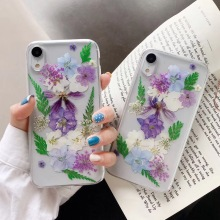 Real Dried Flower Cases For iPhone XS XR Max 8 6 6s 7 Plus Gold Foil Bling Handmade Floral Leaves Clear Soft TPU Cover