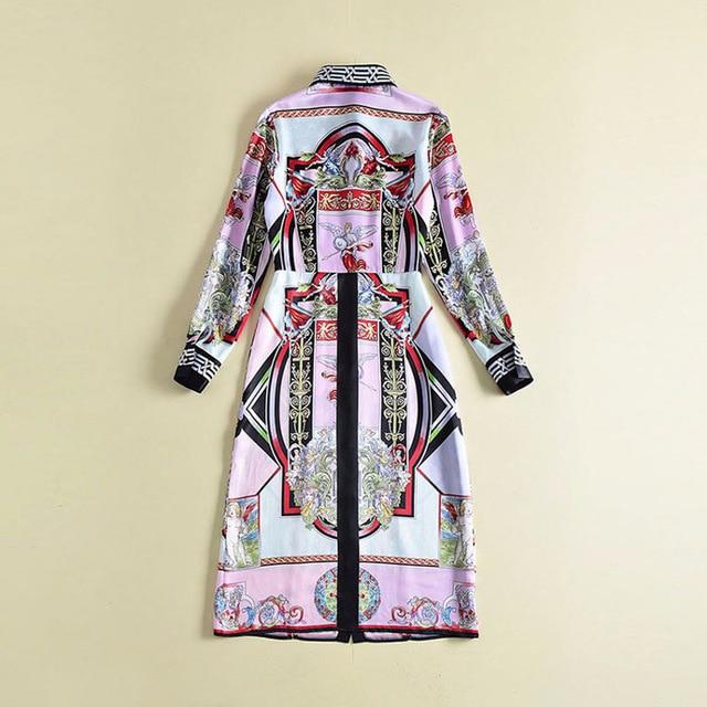 Yang Zhang Junning sama europa 2018 nian wiosna pokaż nowe mody klasyczne druku koszula Maxi sukienka