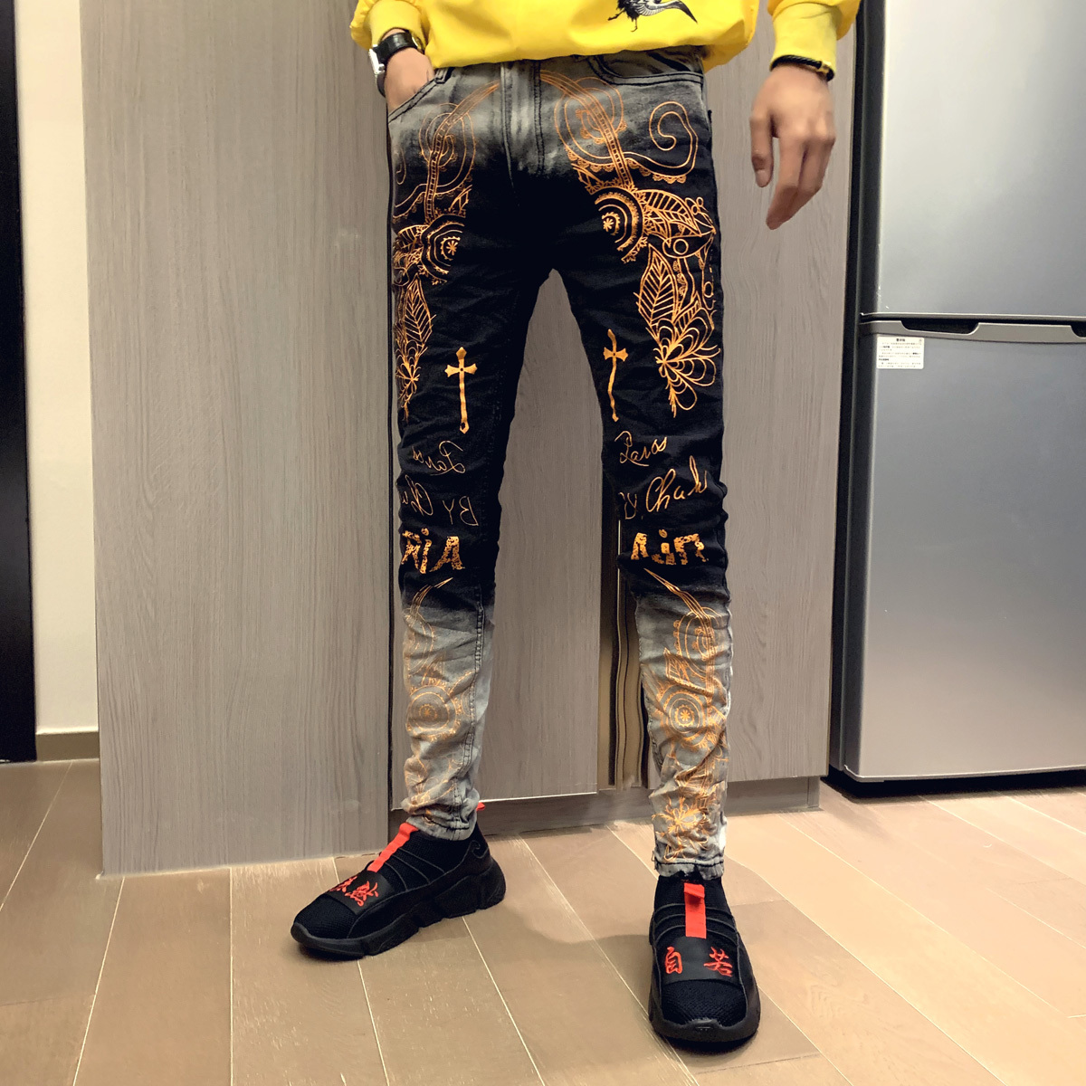 2019 Autumn New Men   Jeans   High Quality Gold Color Printing Design Classic Slim Fit Fashion Long   Jeans   Men Pantalones Vaqueros