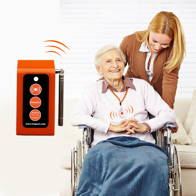 SINGCALL Wireless Medical Call Button System. Pager Service, Smart Caregiver Two Call Buttons & Caregiver Pager Nurse Alarm 2