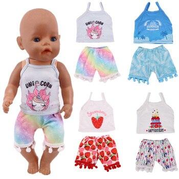 לקבל קופונים! חדש בובת אביזרי בגדי סט = קלע + מכנסיים עבור 18 אינץ ילדה בובת & 43 cm חדש נולד תינוק בובת, שלנו דור