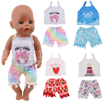 Zdobądź kupony! Nowe akcesoria dla lalek zestaw ubrań = chusta + spodnie dla 18 Cal dziewczynka lalka i 43 cm noworodki laleczka bobas nasze pokolenie tanie i dobre opinie luckdoll Tkaniny n318 Unisex Moda 18 Inch American Doll New Born Baby Doll 43 cm 3years old