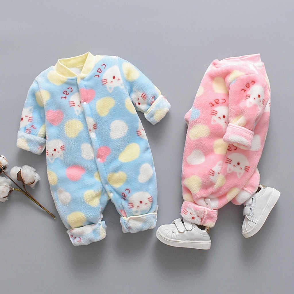 Bebek kız giysileri kış yenidoğan bebek karikatür polar sıcak Romper tulum yumuşak pijama yeni doğan romper uzun kollu bebek tulumu