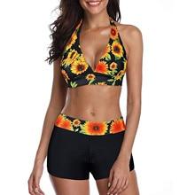 Women Fashion Sunflower Print Sleeveless Bikini Set Top Shorts Two Piece Set Swimsuit Bathing Suit Swimwear Beach