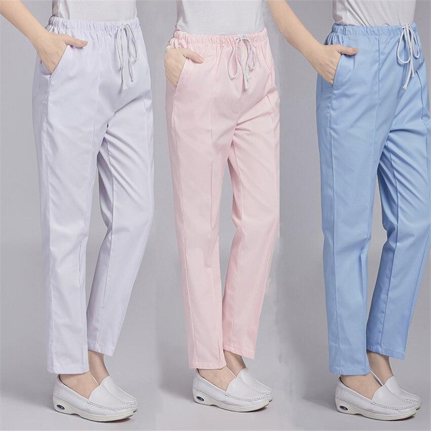 Calças de roupa de trabalho uniformes médicos cintura elástica mais enfermeira uniforme vestido esfrega acessórios de vestuário feminino para enfermagem