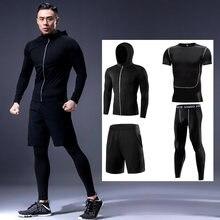 Ajuste seco conjunto de roupas esportivas ginásio ginásio fitness compressão terno do esporte jogging apertados esportes wear roupas masculino oversized boxe