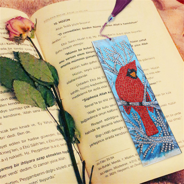 HUACAN Special Shaped Diamond Painting Leather Bookmark Diamond Embroidery Craft Tassel Book Marks For Books Christmas