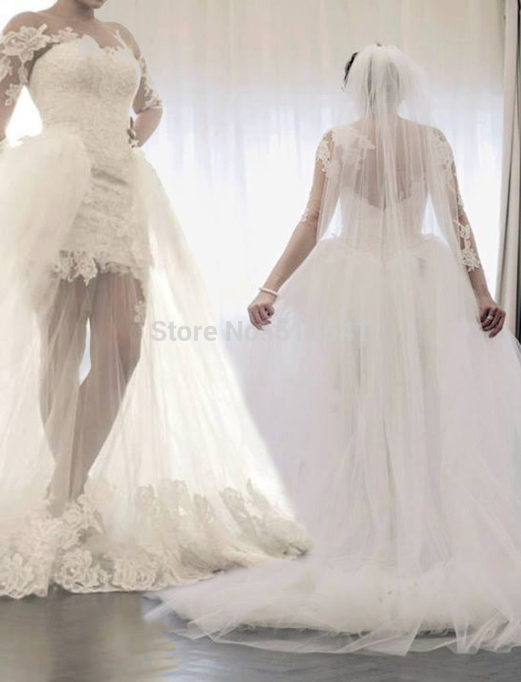 Vestidos Three Quarter Sleeve Sweetheart Trumpet Mermaid 2019 Wedding Dresses Lace Applique Short Inside Sweep Train Bridal Gown