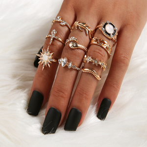 10 pcs/set Vintage Leaf Flower Crystal Rings For Women Fashion Retro Geometric Opal Knuckle Ring Set Bohemian Jewelry Gifts 2020