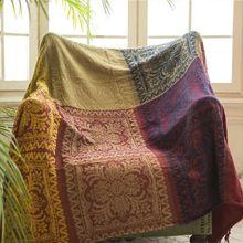 Étnicos de Chenille Jacquard borlas manta de bloque de Color diseño tribal sofá clásico cubierta de la silla de toalla para sofá cama