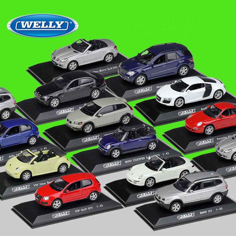 1:43 Welly Benz VW Audi Volvo Alfa Stand With Case Alloy Diecast Model Car