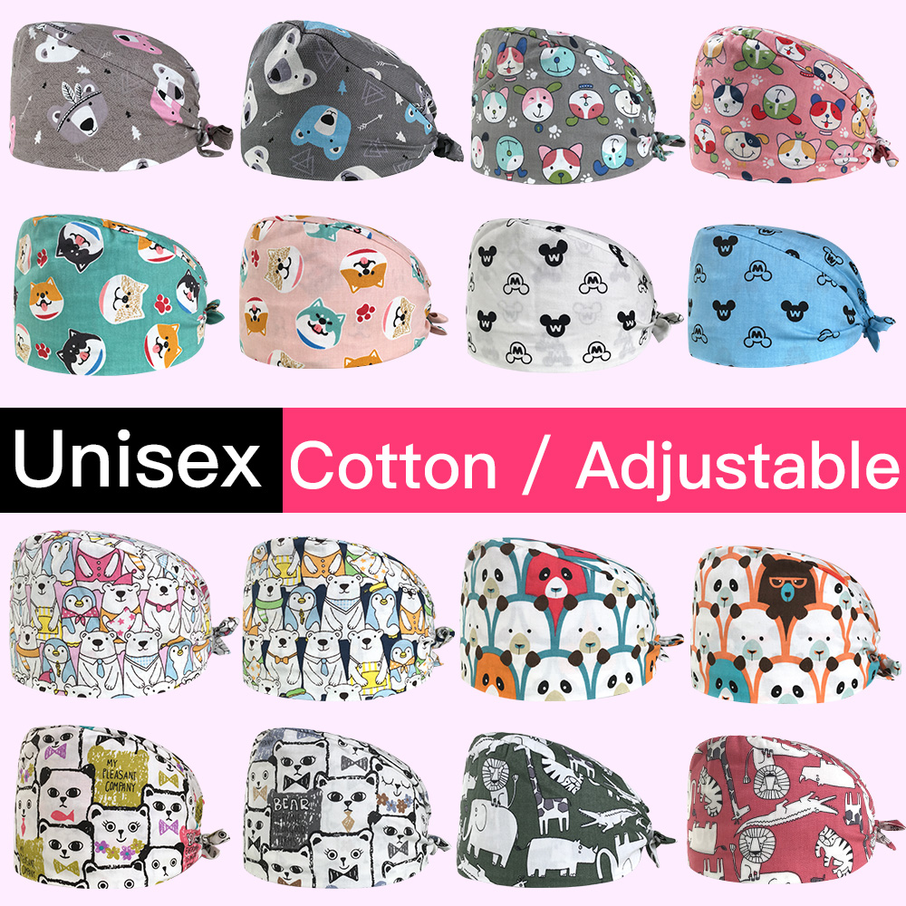 Unisex Pet Hospital Doctor Nurse Cap Operating Room Hat Cartoon Printing Surgical Cap Medical Surgery Cap/hats Nurse Accessories