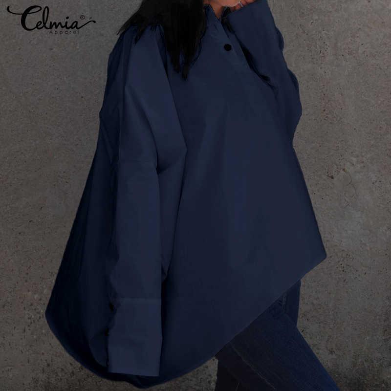 2019 Женские топы и блузки, большие размеры, винтажные пуговицы для рубашки, повседневные Длинные рукава летучая мышь, свободные Асимметричные блузы, Femininas