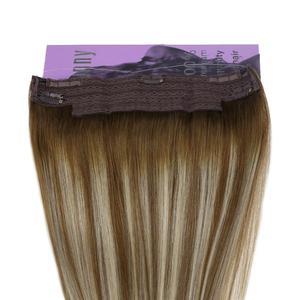 Image 4 - VeSunny One Piece Invisible doczepiane włosy prawdziwe ludzkie włosy odwróć drut z klipsami na Balayage kolor #6/60/6 Brown mix Blonde