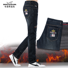 2020 New Winter Fleece Men Jeans  Fashion Casual Top Quality Embroidery Straight Stretch heavyweight Big SIZE 42  Men pants