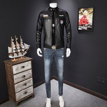 Men's leather jacket men's youth Slim Korean jacket 2021 autumn and winter new tide men handsome motorcycle PU leather