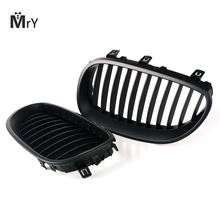 Car Styling For BMW 5 Series E60 E61 M5 2004-2009 Matte Black Front Kidney Grille Grills ABS Car Cover 1pair gloss car front sport grill kidney black grilles front hood kidney grille for bmw 5 series m5 e39 e60 e61 2003 2009