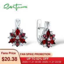 Santuzza כסף Stud עגילים לנשים אדום אבנים לבן מעוקב Zirconia גבירותיי טהור 925 סטרלינג כסף המפלגה תכשיטים