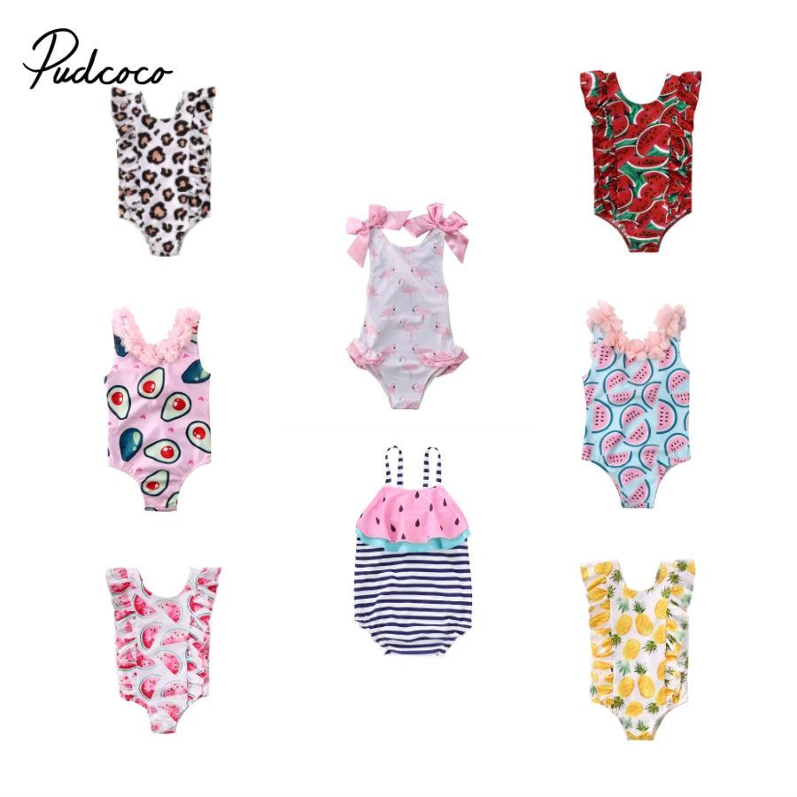 Baby Girl Avocado Bodysuit Bikini Toddler Infant Baby Girls Fruit Swimsuit One-Piece Swimwear Swimming Bathing Beach Costume