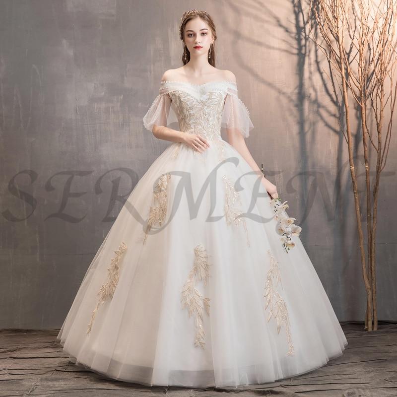 SERMENT Elegant Long Sleeve Floral Print Wedding Dress Lacework Floor-Length Suitable For Garden Church Beach Wedding Plus Size
