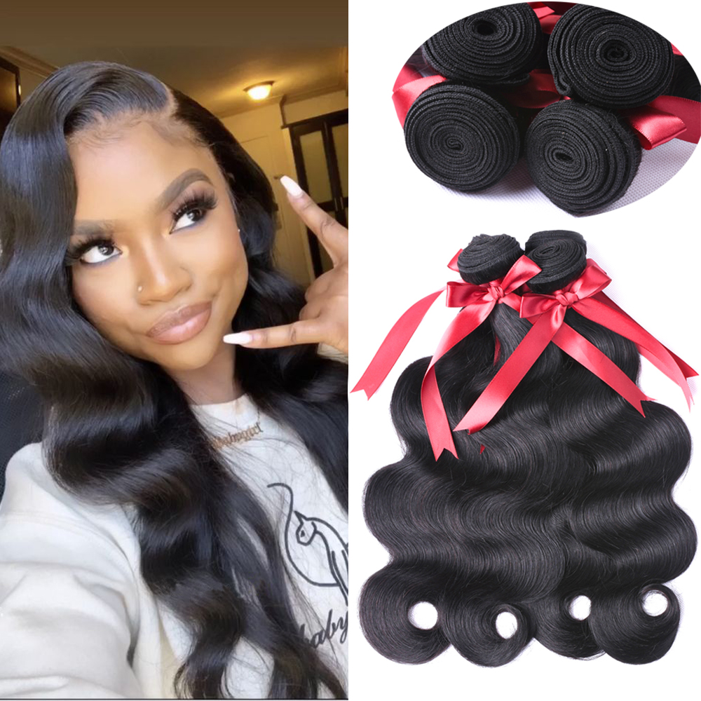 Allrun Brazilian Body Wave Hair Weave Bundles 100% Human Hair Bundles Natural Non Remy Hair Extensions 1/2/3/4 Bundles Deals