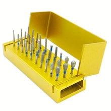 30pcs Dental Diamond Burs Drill Disinfection Block High Speed Handpiece burs Holder Alumimum Instrument Teeth Whitening Tool