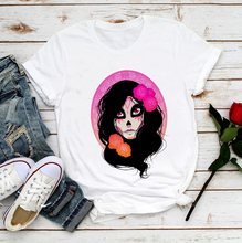 2020 New T-shirt for Women Funny Day of The Dead Top Female T Shirts Sugar Skull Sugar Skull Harajuku White Casual Sweet Clothes