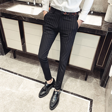 2019 Dress Pants Men Flat Slim Business embroidery