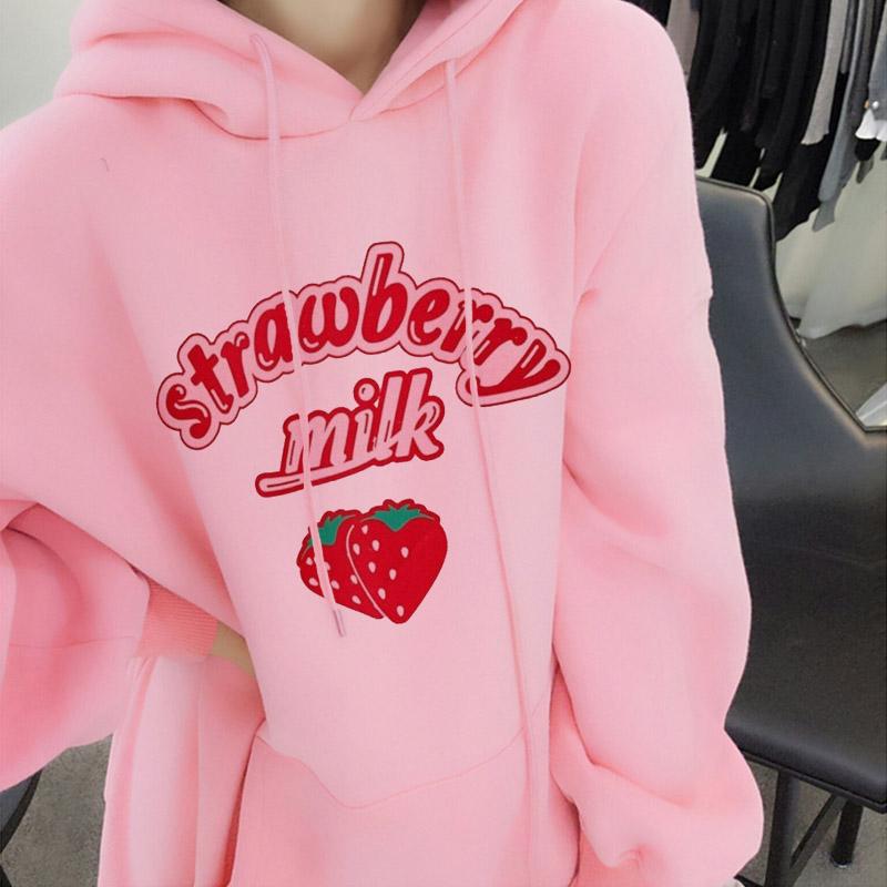 Harajuku Kawaii Strawberry Milk Graphic Sweatshirt Hoodie Women Streetwear Hokkaido Pullover Women Loose Pink Hoodie Cute Coat