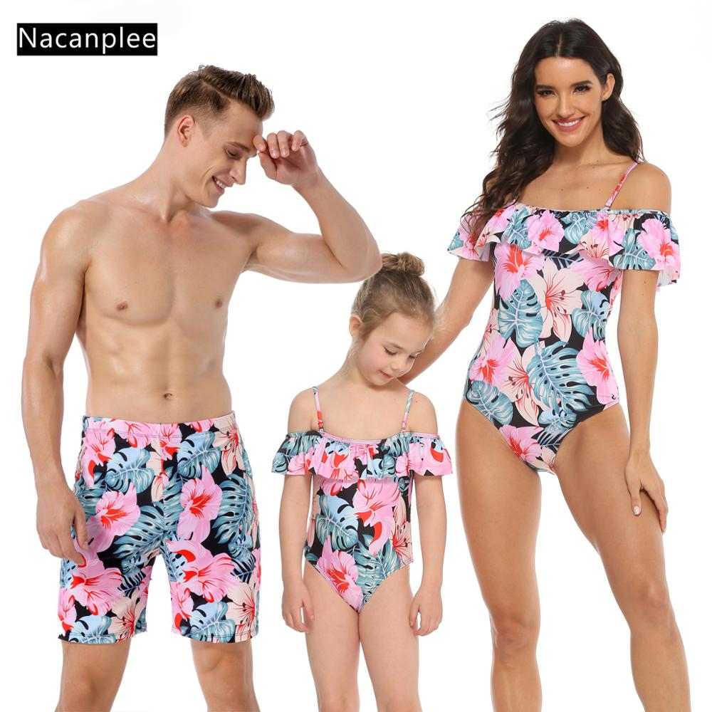 Mommy and Me Swimsuits Family Matching Letter Print Trunks One Piece Bikini Bathing Suit