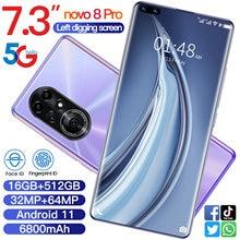 Mais novo smartphone novo 8 pro android 16gb ram 512gb rom 6800mah deca núcleo cpu telefone móvel 7.3