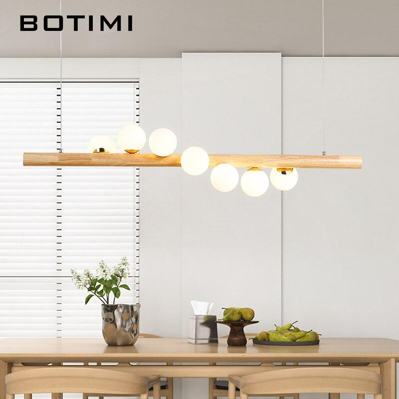BOTIMI comedor lámpara colgante LED para sala de estar bolas de cristal lámpara colgante de madera Bar mesa larga colgante desván accesorios de iluminación - 3