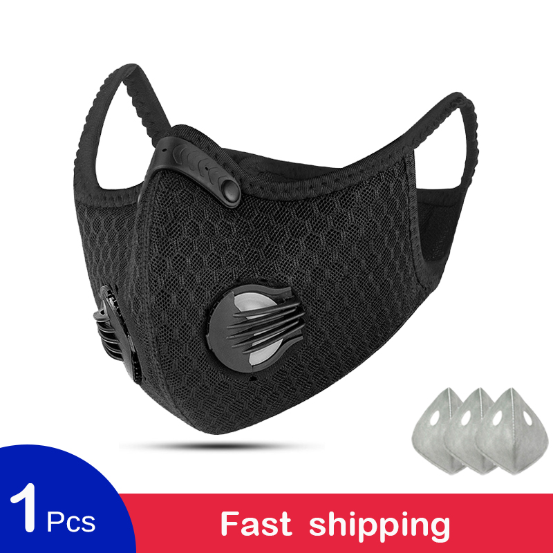 Cycling Face Mask Sport Training Mask PM2.5 Anti-pollution Outdoor Running Cycling Mask Activated Carbon Filter Washable Mask