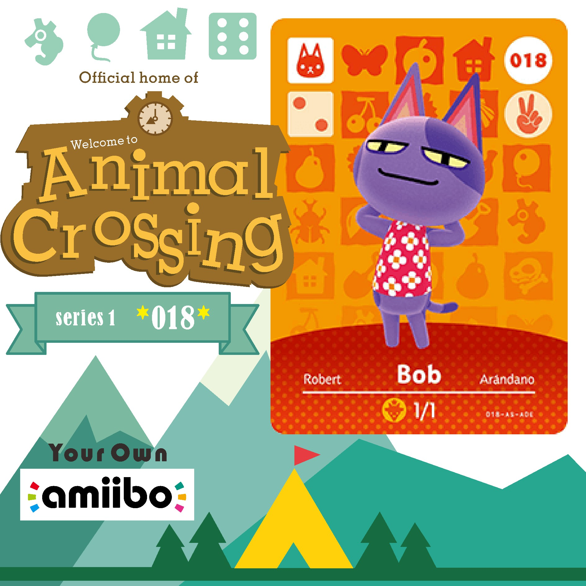 018 Bob Animal Crossing Cross Card Amiibo Card Amiibo Animal Crossing Game Card New Horizons Animal Crossing Welcome Amiibo