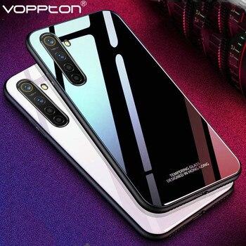Перейти на Алиэкспресс и купить Твердый цветной чехол из закаленного стекла для OPPO Realme X2 XT 5 Pro Q, чехол для телефона, силиконовая рамка, жесткий стеклянный чехол для задней п...
