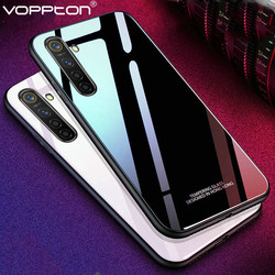На Алиэкспресс купить стекло для смартфона solid color tempered glass case for oppo realme x2 xt 5 pro q phone cover silicone frame hard glass back case for 6i 5i reno3 c3