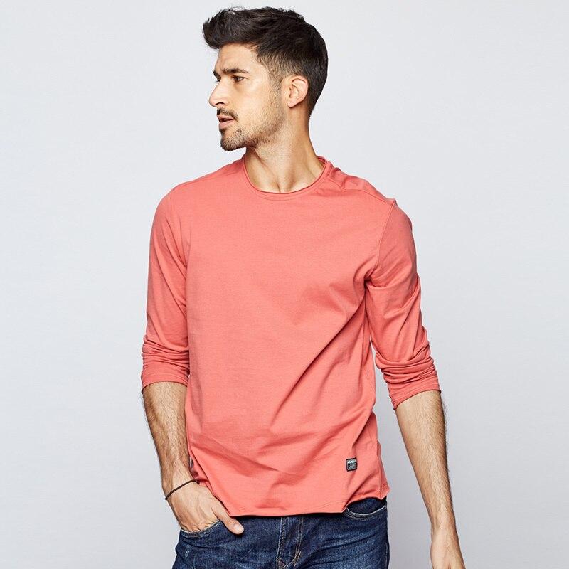 Kuegou 2019 outono 100% algodão simples branco preto t camisa dos homens camiseta marca camiseta de manga longa camisa de moda roupas topo 7767