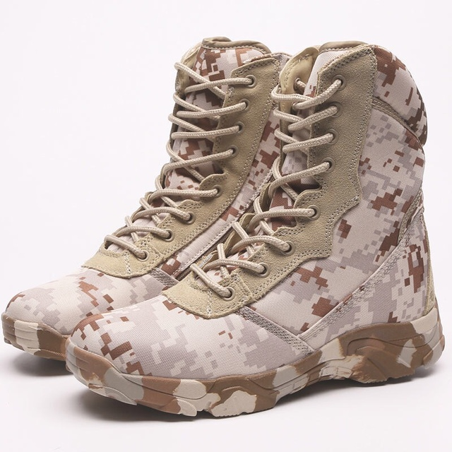 Men Camouflage Combat Ankle Boot Waterproof Leather Work Safety Hunting Casual Shoes Mens Tactical Military Army Boots Sneakers 5