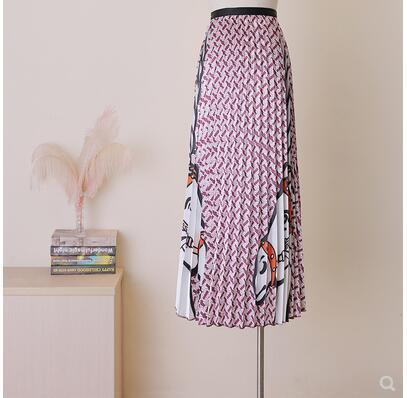 Qooth Women's Long Skirt Summer Skirts 2019 Spring Luxury Unicorn Pleated Skirt High Waist Glitter Vestidos Saia QH17392