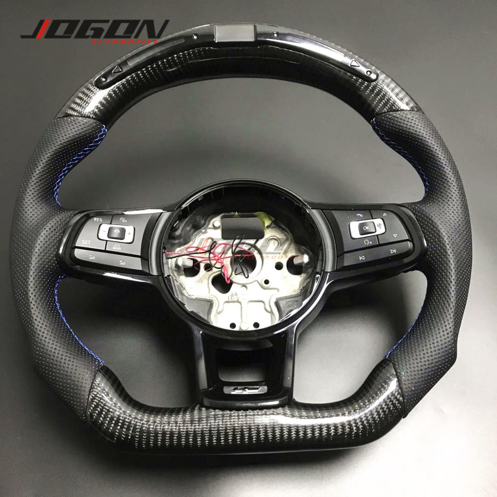 With <font><b>LED</b></font> For VW <font><b>Golf</b></font> 7 GTI <font><b>Golf</b></font> R MK7 Jetta Passat Polo GTI Scirocco 2014-2018 Replacement Carbon Fiber Steering Wheel <font><b>Trim</b></font> image