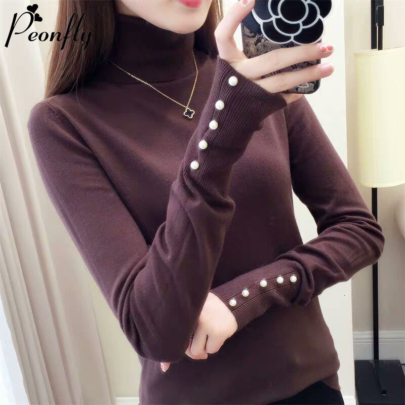 PEONFLY Fashion Casual Sweater Tops 2019 New Autumn Women Sweater Knitted Long Sleeve Turtleneck Elegant Slim Soft Button Jumper