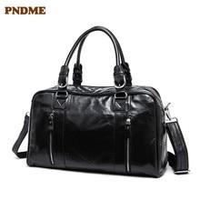 PNDME black genuine leather men's women's travel bag fashion simple high quality cowhide handbag luggage bag casual duffel bag